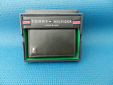 TOMMY HILFIGER MEN'S METAL LOGO GENUINE LEATHER TRIFOLD & VALET WALLET BLACK