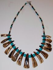 Antique Brown Buffalo Teeth Turquoise and Bone Hair Pipe Beaded Necklace Tooth