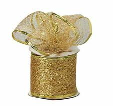 Decorative Tulle Glitter Sheer Wired Ribbon Roll 2.5 inch x 10 Yard, Gold