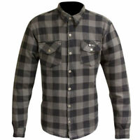 MERLIN AXE ZIP UP K.E.V.L.A.R. LINED MOTORCYCLE SUMMER RIDING SHIRT GREY CHECK
