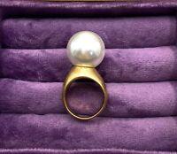 Anillo mujer dorado con perla acrilica nuevo complementos moda talla 6,5 regalo