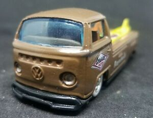 "Custom 1/64 Scale Volkswagen Flat Bed Pickup ""Seaside Surf Shop"" Rubber Tires"