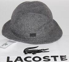 NWT LACOSTE Women's Black/White Tweed Wool Blend Leather GATOR Logo Derby Hat L