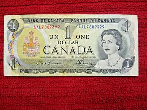 $1 dollar bill Bank of Canada. 1973.