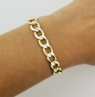 "14K Yellow Gold Diamond Cut Italian 8.5""  Cuban Curb Link Chain Bracelet"