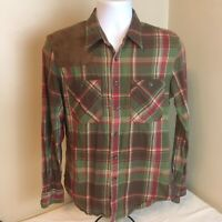 Ralph Lauren Sport Mens Shooting Shirt Brown Green Plaid Measures Medium FS!