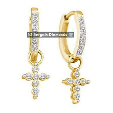 diamond .10 carat cross 10K yellow gold huggie dangle earrings Red Carpet