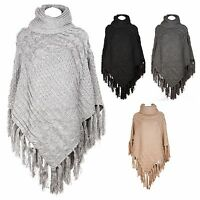 Womens Winter Thick Knit Poncho Turtle Neck Cape Warm Cardigan Coat Sweater