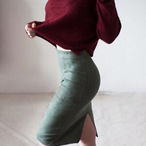 Women's Faux Suede High Waist Knee-Length Sexy Bag Hip Skirt Business Suit Skirt