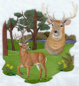 Large Embroidered Zippered Tote - Spirit of the Deer J2790
