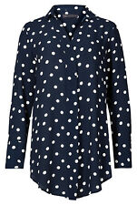 Marks and Spencer Spotted Long Sleeve Women's T-Shirt - Navy Mix, Size 22