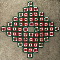 Crocheted Granny Square Christmas Tree Skirt Red White Green Handmade 46""