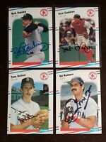 1988 Fleer Red Sox x4 Auto Lot Autograph Signed Cards Gedman Stanley Bolton....