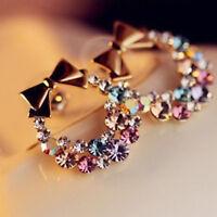 New Fashion Women Elegant Bowknot Crystal Rhinestone Ear Stud Earrings 1pair