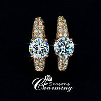 18K Gold Plated Sparkling Swarovski Element Crystals Stud Earrings RRP:$119