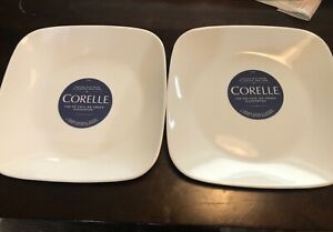 Corelle Square Pure White 9-Inch Plate Set of 2 NEW