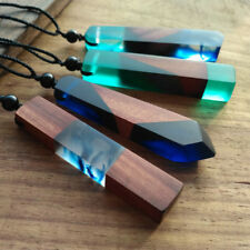 Vintage Resin Wood  colorful pendant Handmade Chain Necklace Rope Color Random