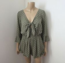 NWT Abercrombie Womens Knot Front Romper Size Large Green Polka Dots