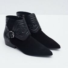 New Zara 2016 Embossed Black Leather Ankle Buckle Boots Booties 37 6.5 Rtl $139