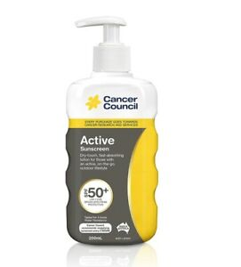 Cancer Council Active Sunscreen SPF50+ Pump 200ml - UVA and UVB Protection