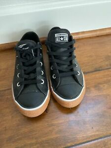 Converse Chuck Taylor All Star Ox Kids Boys Black Leather Sneaker Youth Size 2