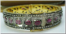 6.37ct ROSE CUT DIAMOND RUBY ANTIQUE VICTORIAN LOOK 925 SILVER BRACELET