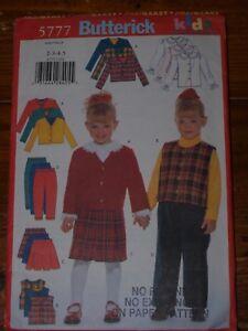 Butterick Girls Skirt, Vest, Jacket & Pants Pattern 5777 Sizes 2, 3, 4, 5