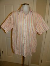 Michel Daniel Mens Atomic Shirt Short Sleeve Button Down Stripe Medium Vtg 1960s
