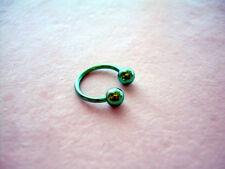 "Horseshoe Ball Titanium Eye Eyebrow Lip Tragus16g 5/16"" Green"