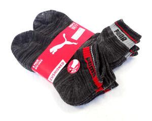 PUMA Men's Socks QTR CREW Charcoal 6 Pairs 10-13 Cushioned - New!