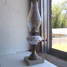 1870s WHITE OVERLAY CUT TO CLEAR GLASS OIL LAMP MARBLE BASE WORKING CONDITION
