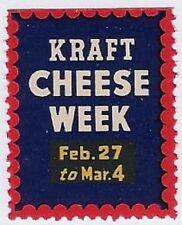 """USA Poster stamp: Vintage """"Kraft Cheese Week"""" Feb. 27 to Mar.04, Dairy Food-dw83"""