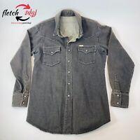 Vintage Wrangler Men's Size L Grey Heavy Denim Pearl Snap Western Bronco Shirt