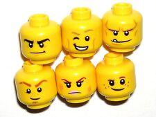 LEGO NEXO KNIGHTS 6 YELLOW MINIFIGURE HEADS CLAY/LANCE/AXL/AARON/MACY/ROBIN