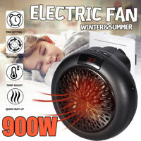 900W 220V Mini Portable Plug-in Electric Wall-outlet Space Heater Fan Heater