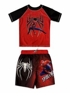 Spider-Man Swimsuit Swim Trunks Short Rash Guard Shirt Boys Marvel Avenger 5 6 7