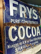 FRY'S COCOA ANTIQUE 1900'S ORIGINAL ENAMEL SIGN SHOP DISPLAY ADVERTISING RARE