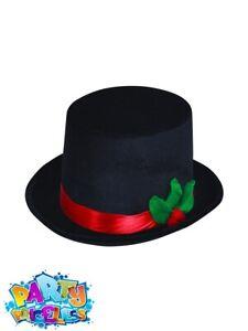 Mens Black Top Hat with Mistletoe Snowman Christmas Fancy Dress Outfit Accessory