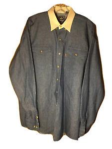 Mens Roper Denim Shirt Button Down Khaki Collar Size 1X Tall