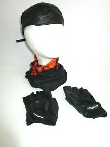 Biker Women's Leather Lot SKULL CAP Sm Fingerless Gloves M Flame Neck Gaiter