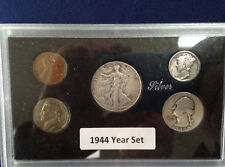 1944 United States Five Coin Silver Year Set Classic Coins in Display Case