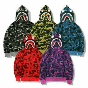 Men's Bathing Ape Bape Shark Jaw Camo Full Zipper Hoodies Sweats Coat Jacket UK