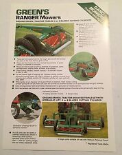 GREENS Ranger Cylinder Gang Mowers Trailed Hy-Lift 1970s Original Sales Brochure