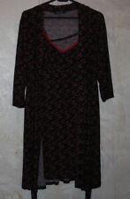 NWOT RENE ROFE sleepware 2 piece set of slip & robe.Black/multi.Hearts prints.