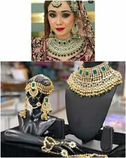 Gold Plated Kundan Bridal Jewelry Necklace Set Green Bollywood Indian Chandbali