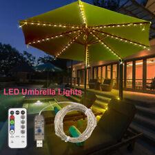 LED Garden Patio USB Umbrella String Light Sun Shade Outdoor Beach Party Lamps