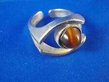 Design Ring 925 Silber mit Tigerauge vintage Modernist 60er/70er Germany