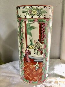 Vintage Famille Rose Medallion Cylinder Chinese China Export Hat Stand Vase 10""