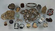 20pc Antique & Victorian Jewelry Gold Filled Necklace Imperfect Pin Ring Lot C