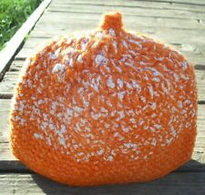 Pumpkin & White Marshmallow Infant Beanie - Handmade by Michaela